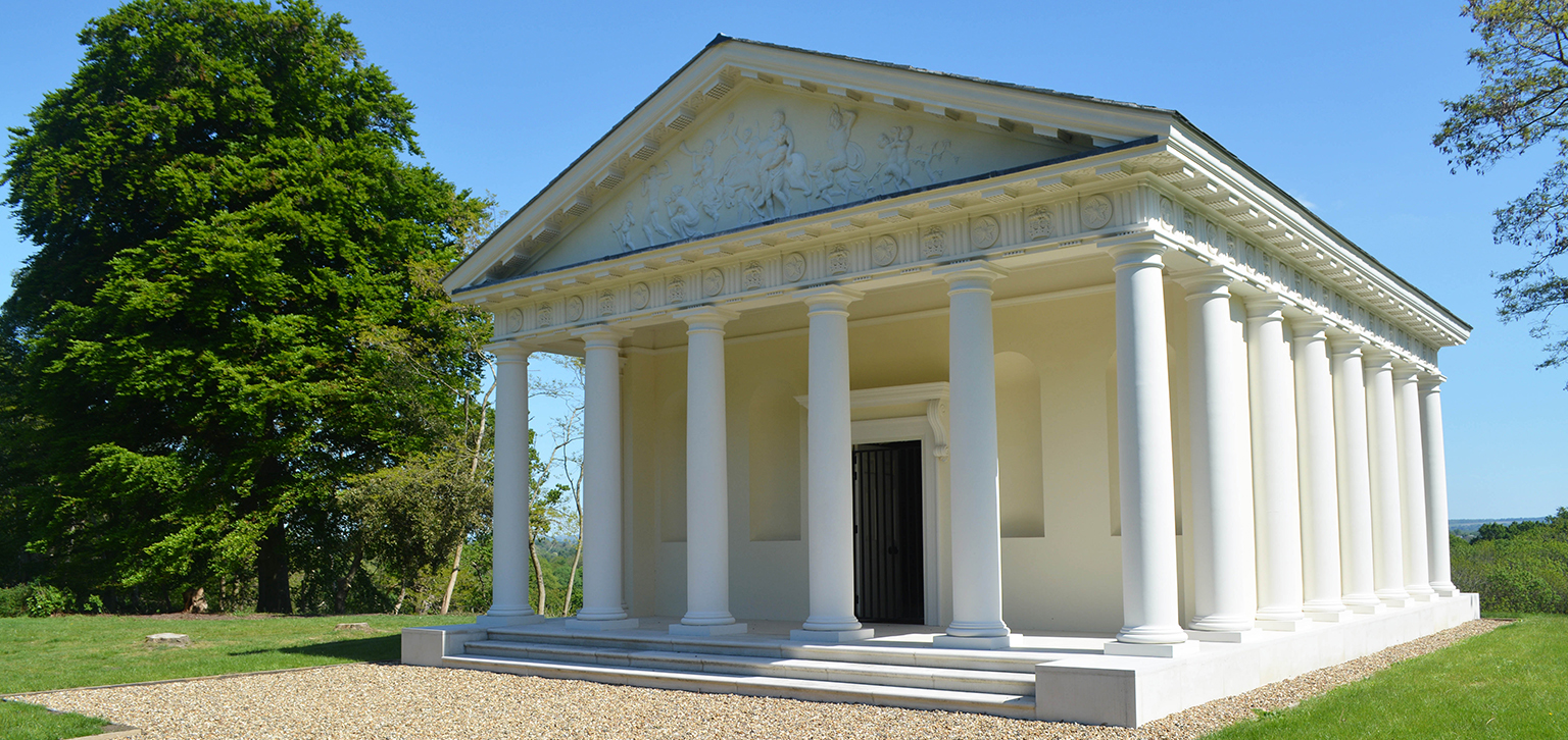 Temple of Bacchus in blue sky